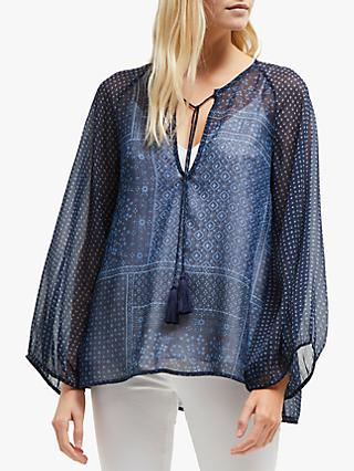 French Connection Anthemis Folk Blouse, White Multi