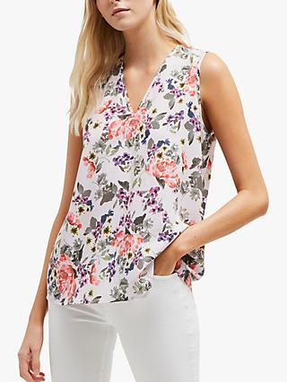 French Connection Armoise Floral V Neck Top, Lavender Frost Multi