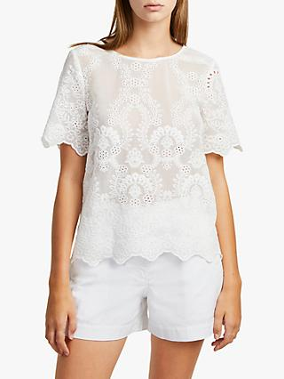 French Connection Camellia Lace Short Sleeve Top, Summer White