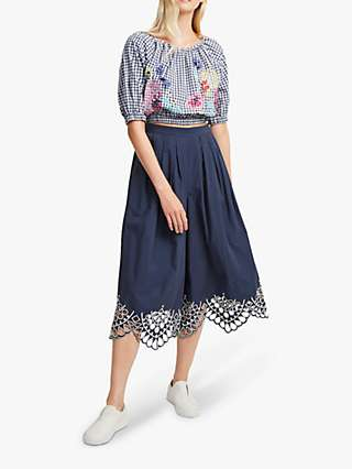 French Connection Lavande Gingham Top, Indigo/Multi