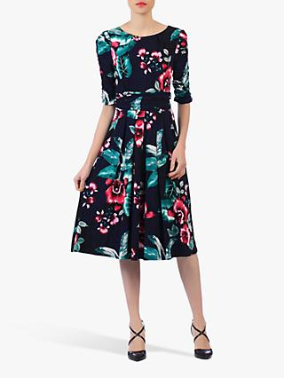 Jolie Moi Flared Floral Print Midi Dress, Navy