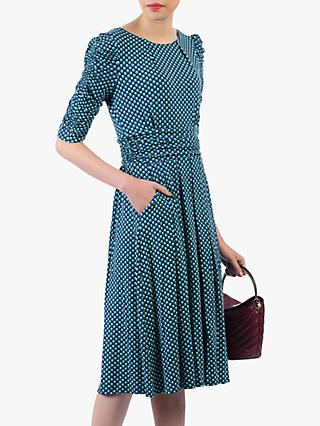 Jolie Moi Flared Puff Sleeve Midi Dress, Blue Geo