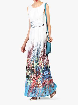 Jolie Moi Printed Chiffon Maxi Dress, White/Multi
