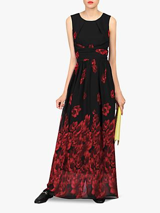 Jolie Moi Floral Chiffon Maxi Dress, Black/Red