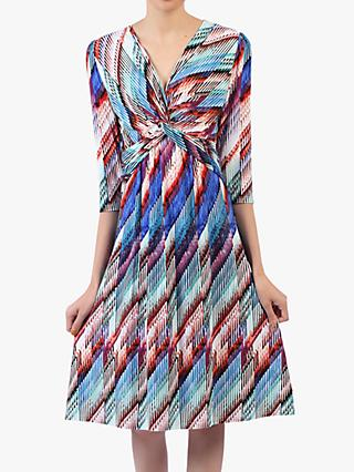 Jolie Moi Twist Front Print Dress, Blue/Multi