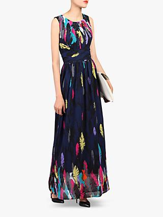 Jolie Moi Feather Belted Maxi Dress, Navy/Multi