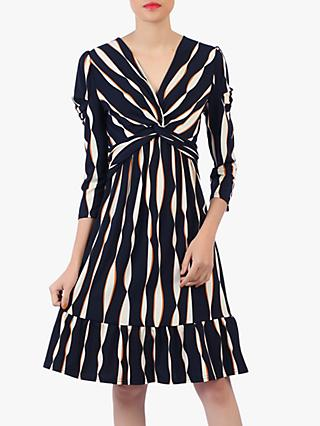 Jolie Moi Retro Print Flare Hem Dress, Navy/Multi