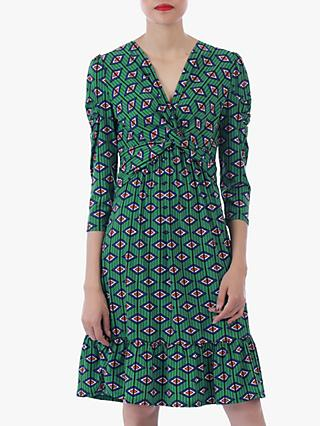 Jolie Moi Geo Print Flare Hem Dress, Green/Multi