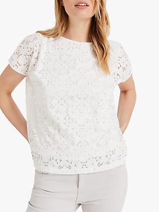 Phase Eight Paulette Paisley Top, White