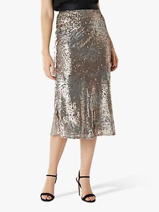 Coast Jana Floral Sequin Midi Skirt, Gold