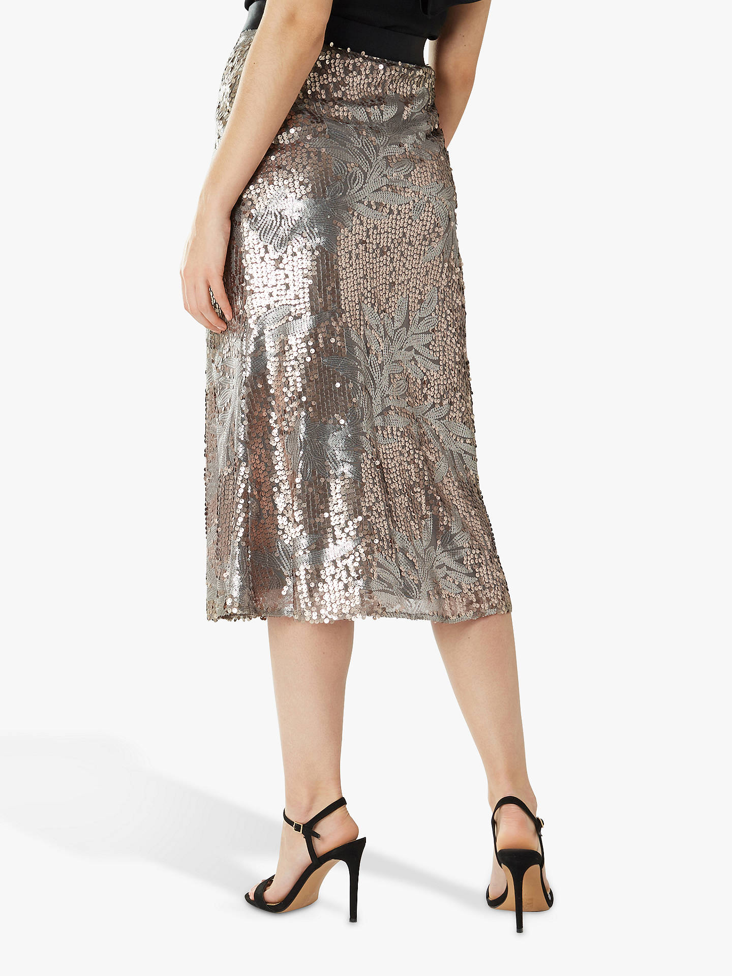 Buy Coast Jana Floral Sequin Midi Skirt, Gold, 8 Online at johnlewis.com