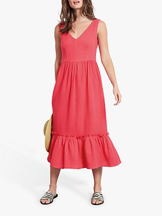hush Odile Tiered Hem Cotton Dress, Paradise Pink
