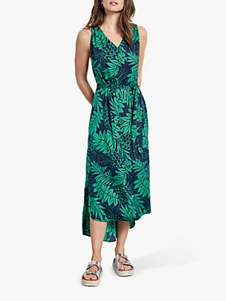 hush Twist Back Palm Print Midi Dress, Midnight/Green