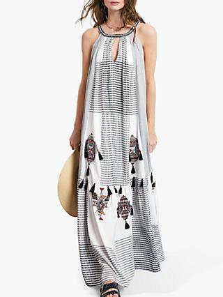 hush Luise Geometric Tassel Maxi Dress, White/Black
