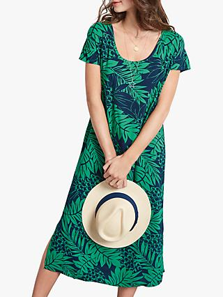 hush Woven Printed T-Shirt Dress, Tropical Green