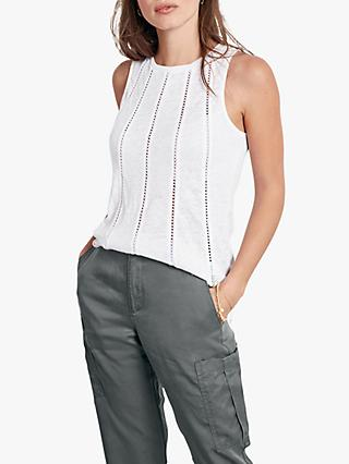 hush Lace Trim Linen Top, White