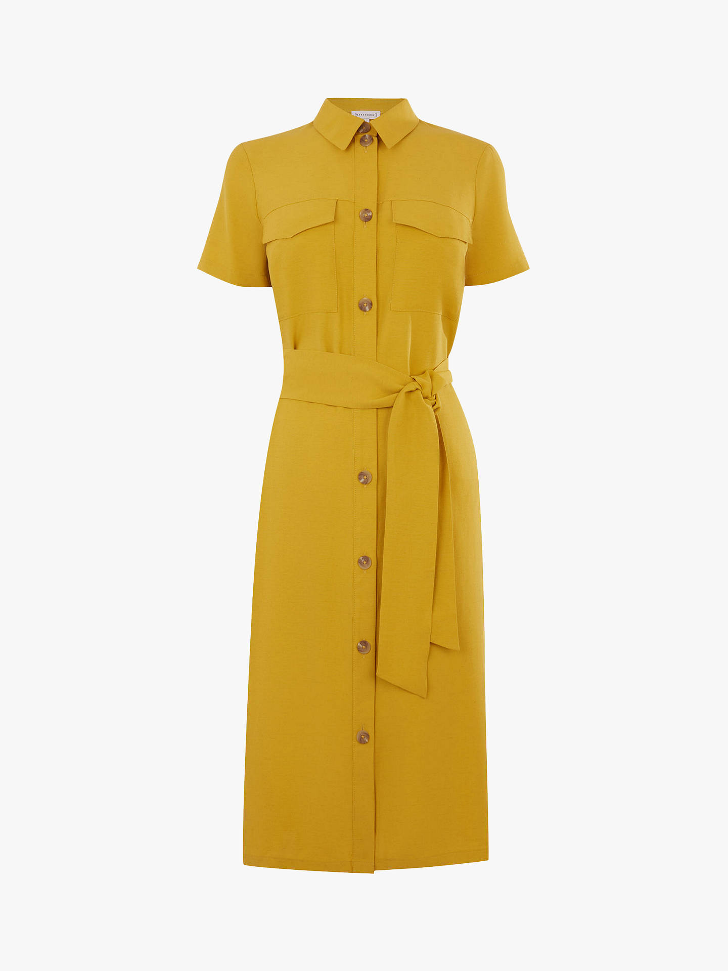 Buy Warehouse Belted Shirt Dress, Yellow, 8 Online at johnlewis.com