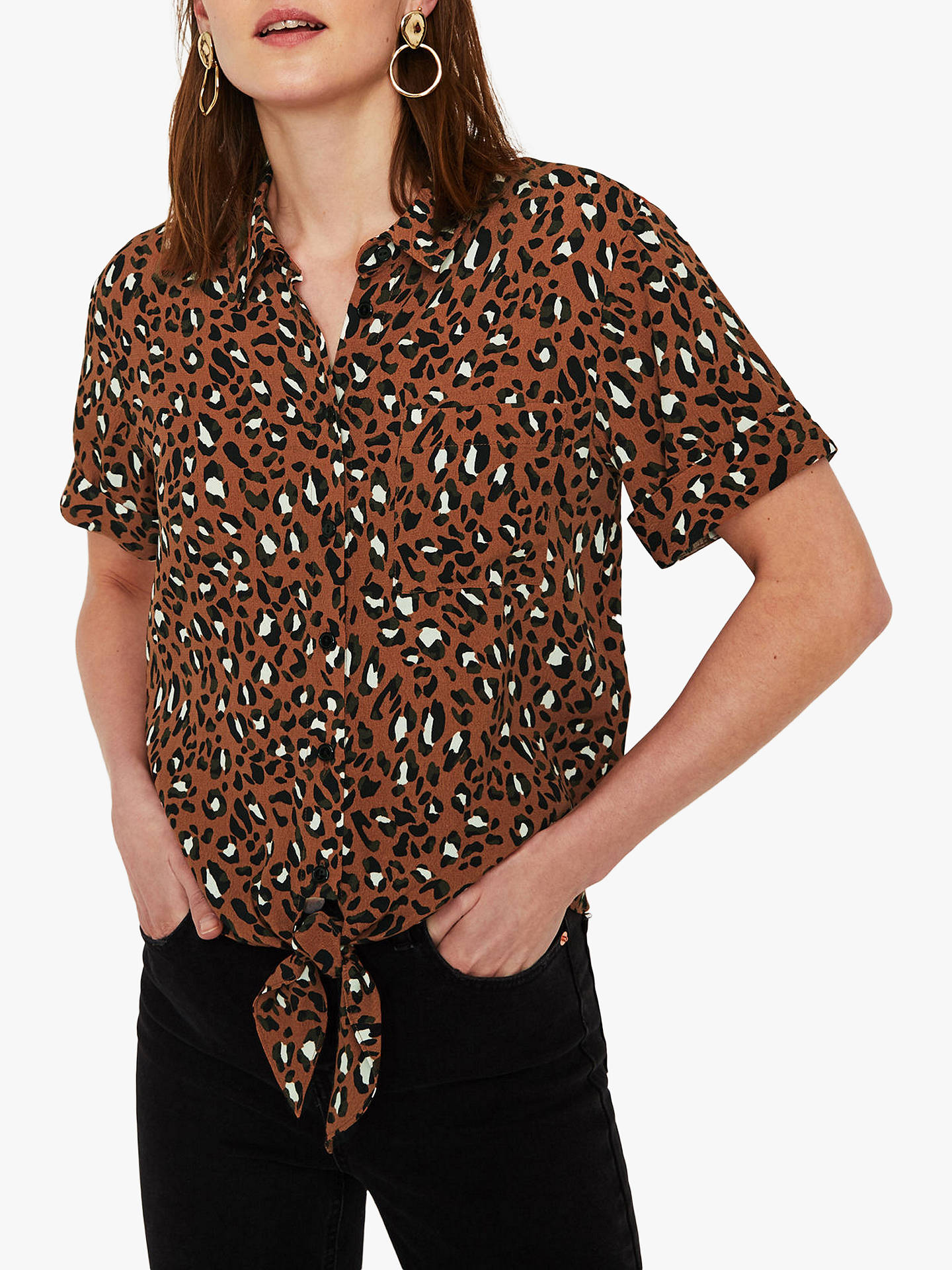 1248d8b35e40 Buy Warehouse Animal Print Tie Front Shirt, Tan, 6 Online at johnlewis.com  ...