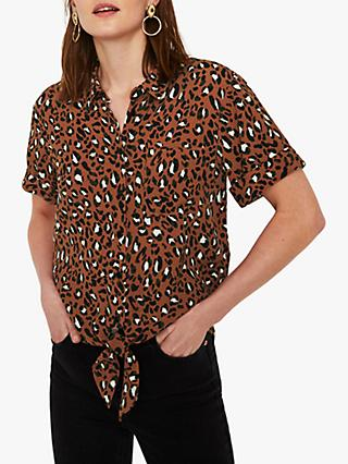 3fde574d00cfd4 Warehouse Animal Print Tie Front Shirt