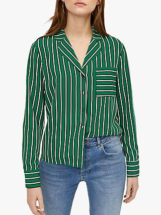 Warehouse PJ Style Stripe Shirt, Green