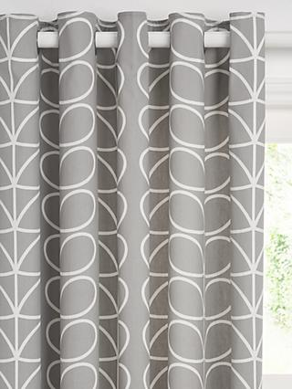 Orla Kiely Linear Stem Pair Lined Eyelet Curtains, Silver