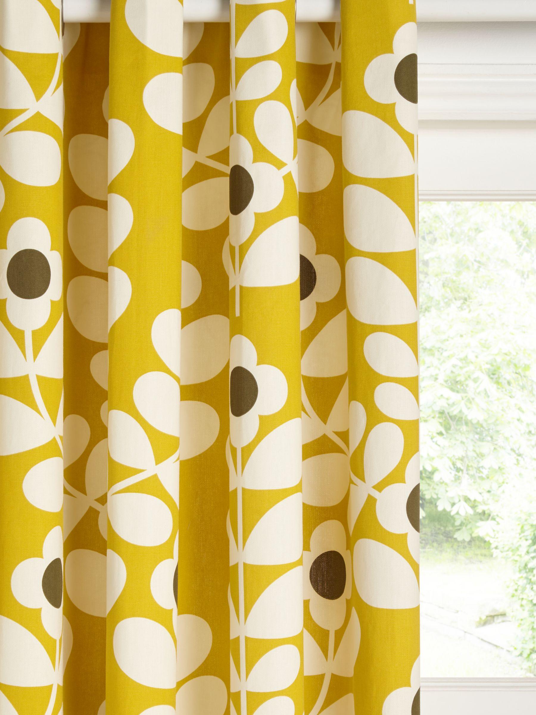Orla Kiely Juniper Stem Pair Lined Eyelet Curtains, Citrine