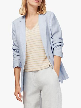 Brora Textured Stripe Linen Jacket, Cloud/White