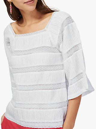 Brora Pintuck And Lace Cotton Top, White