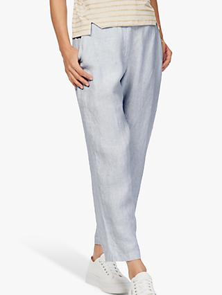 Brora Textured Stripe Linen Trousers, Cloud/White