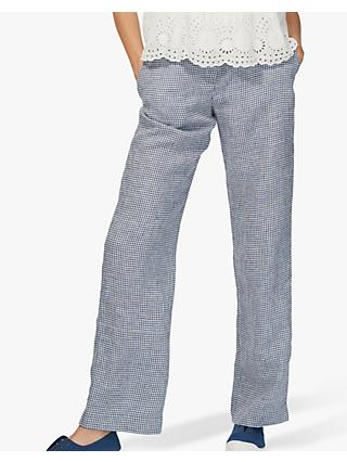 Brora Gingham Linen Trousers, Chambray/White