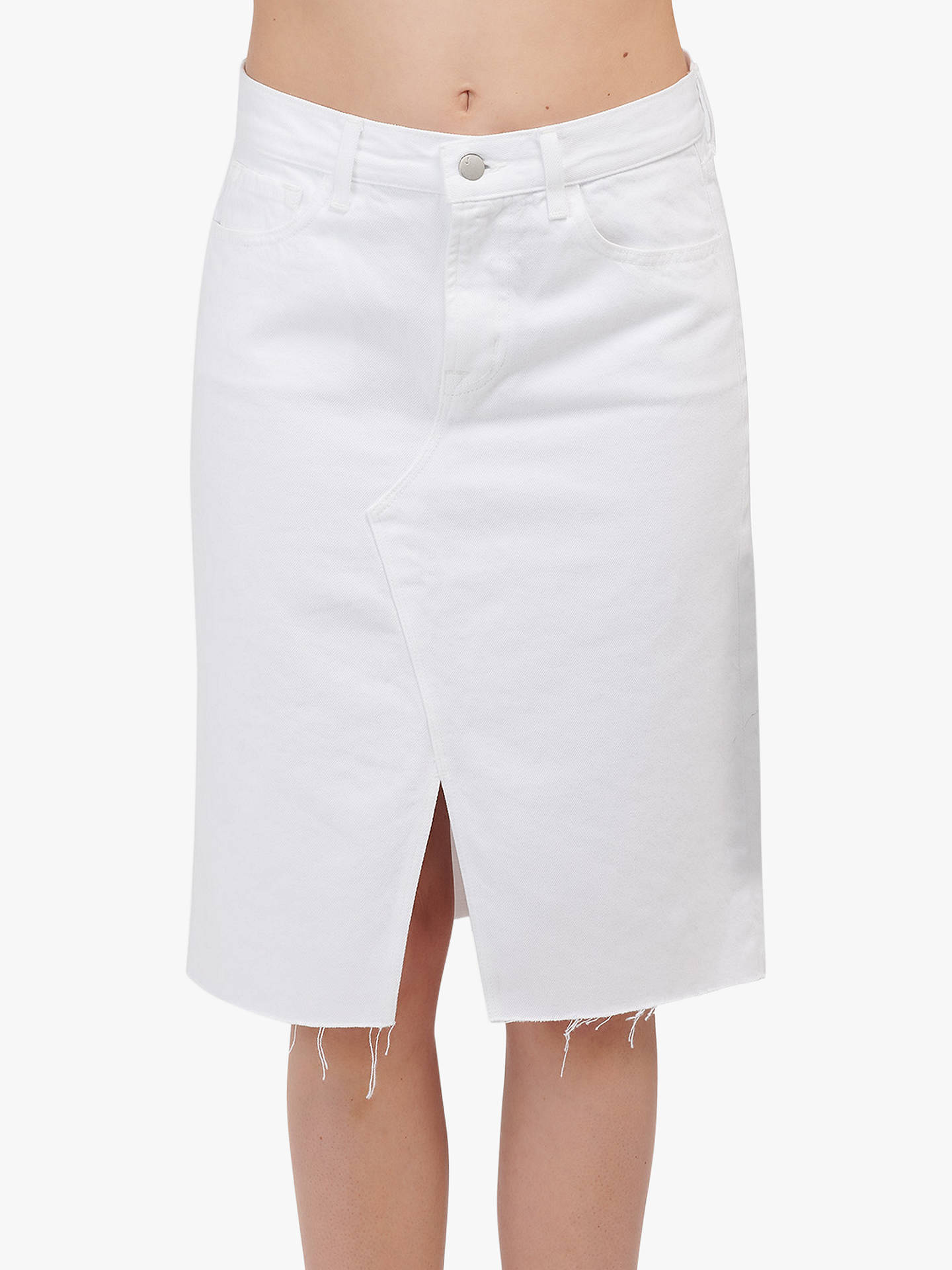 90245d76e3 Buy J Brand Trystan High Rise Denim Pencil Skirt, White, 24 Online at  johnlewis ...