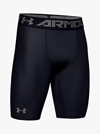 Under Armour HeatGear Armour Long Compression Shorts, Black/Graphite