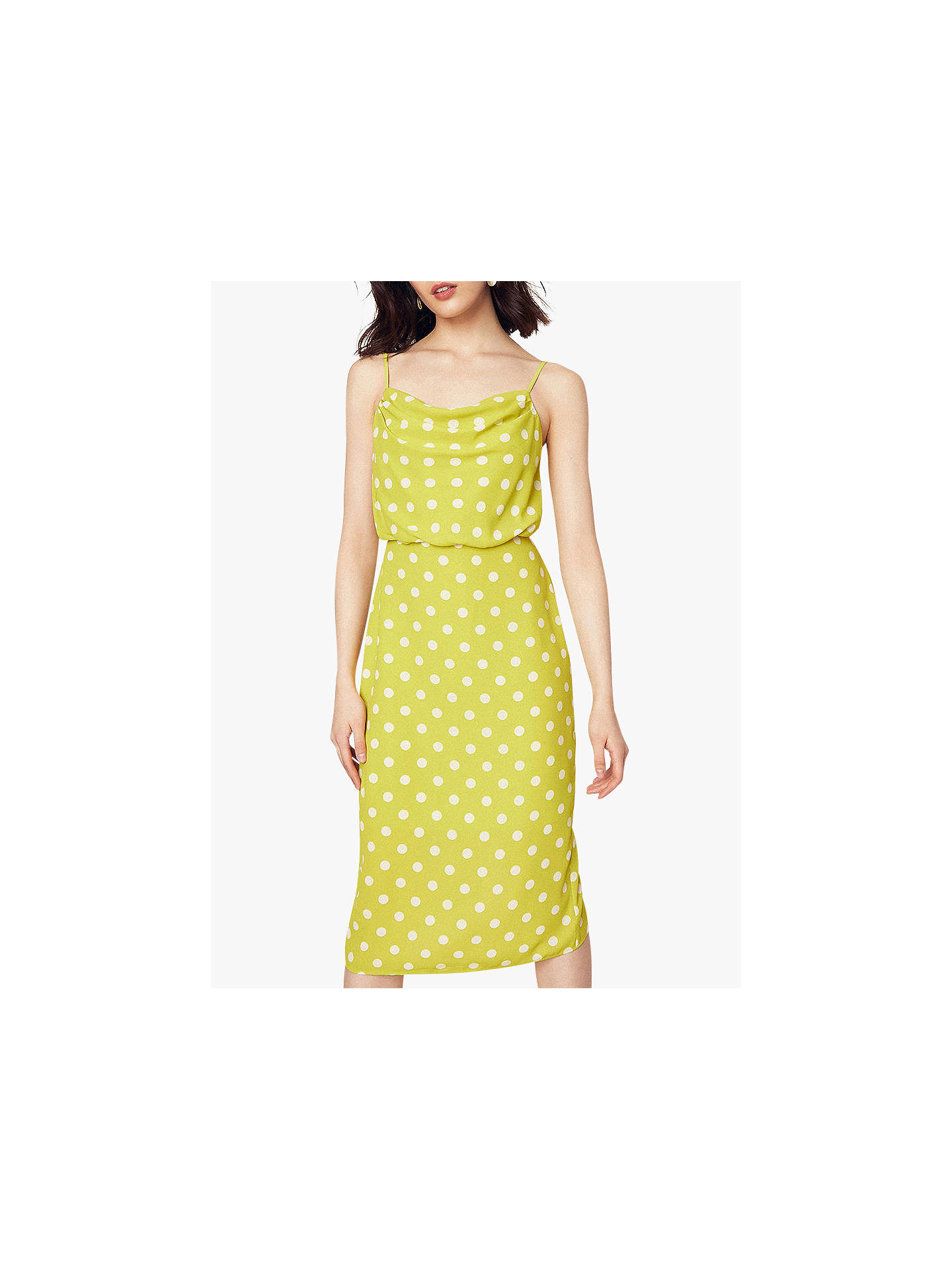 ba840ca4016a Buy Oasis Spot Cowl Neck Midi Dress, Yellow/Multi, 12S Online at johnlewis  ...