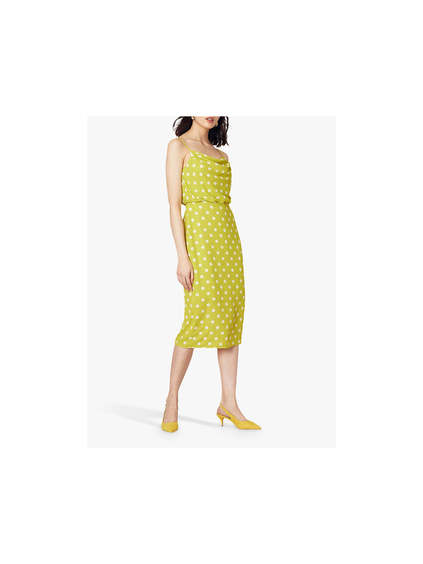 e17532a1089a ... Buy Oasis Spot Cowl Neck Midi Dress, Yellow/Multi, 12S Online at  johnlewis ...