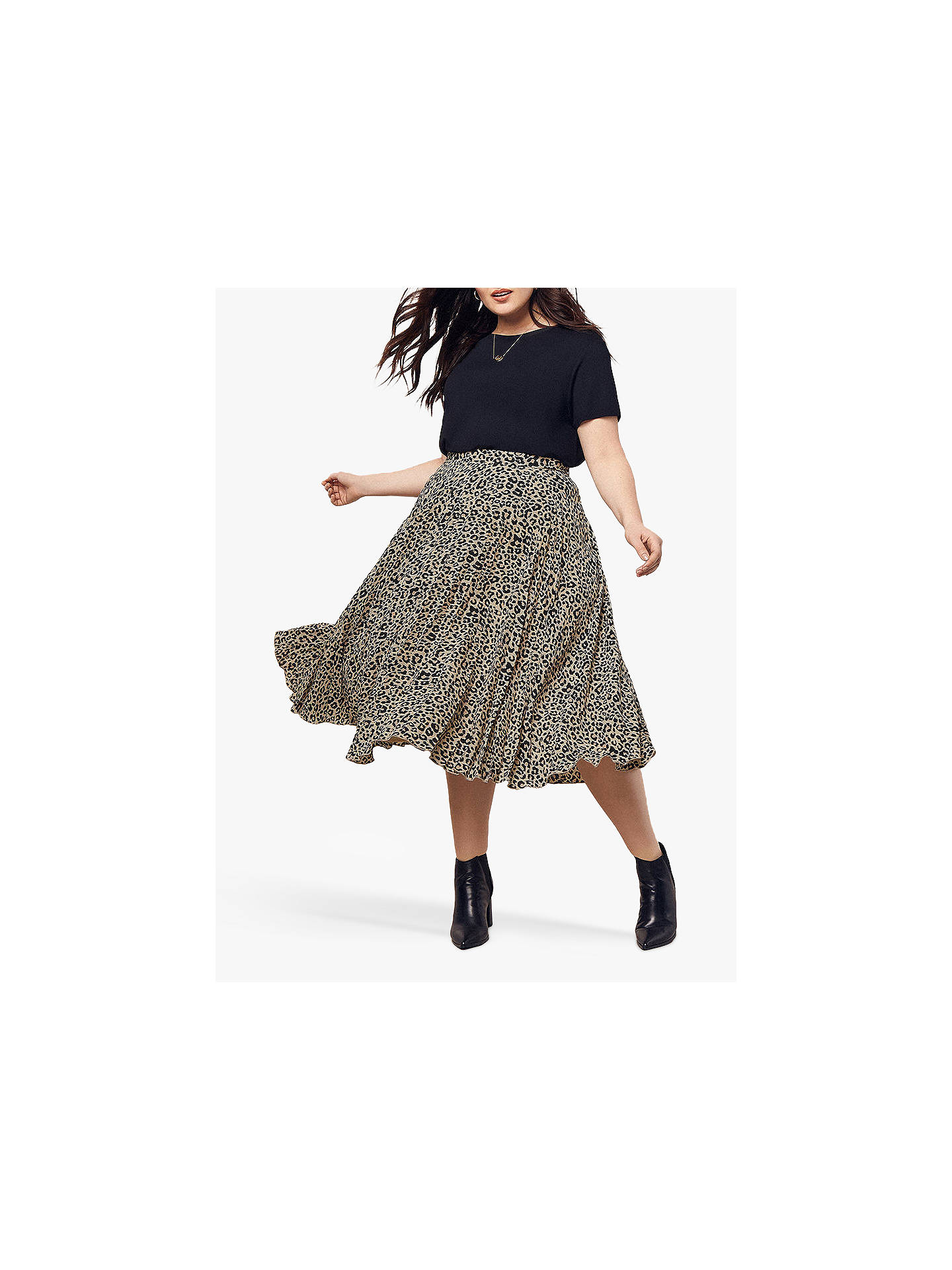 3a9504227630 Buy Oasis Curve Animal Print Pleated Midi Skirt, Multi, 18 Online at  johnlewis.