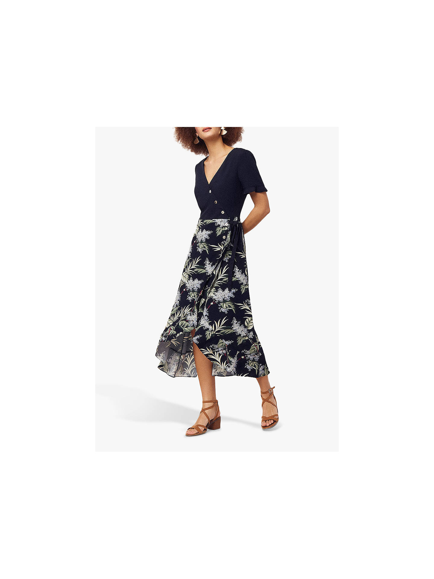 60dec0525 Buy Oasis Jasmine Midi Dress, Navy/Multi, 6L Online at johnlewis.com ...