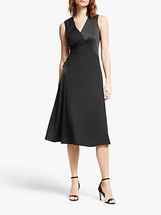 Modern Rarity Satin Tie Side Dress, Black