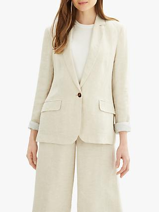 Jaeger Cross Dye Linen Blazer, Natural