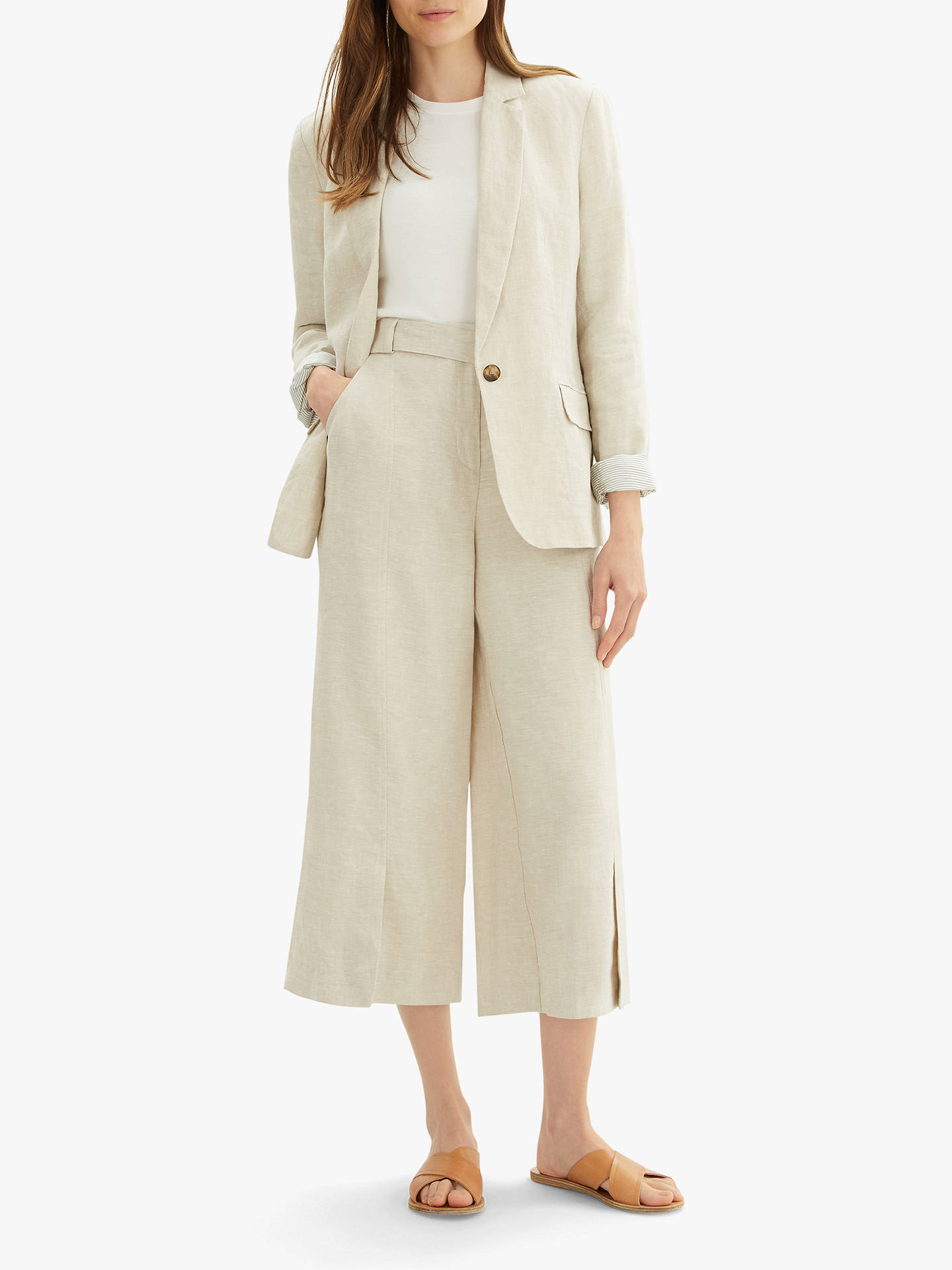 Buy Jaeger Cross Dye Linen Blazer, Natural, 6 Online at johnlewis.com