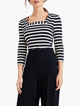 Phase Eight Aisling Square Neck Top, Navy/Ivory