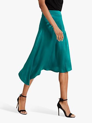 Phase Eight Noreen Satin Skirt, Jade