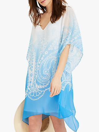 Phase Eight Neema Paisley Beach Dress, Ivory/Blue