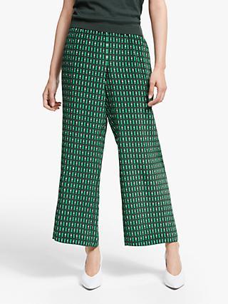 fc31dd152fde08 Weekend MaxMara Marruca Silk Print Cropped Trousers, Emerald