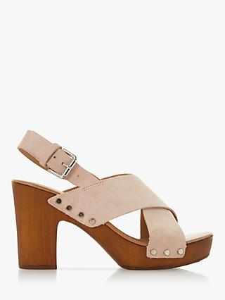 Dune Immi Leather Wooden Platform Sandals, Blush