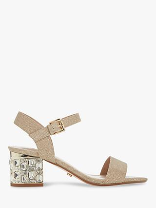 Dune Mesmerized Embellished Heeled Sandals, Gold