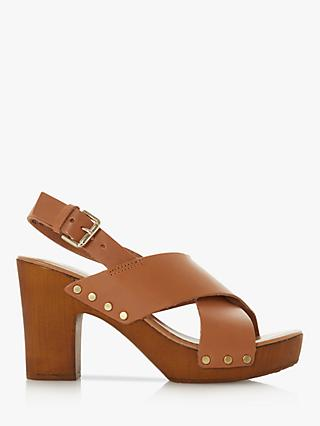 Dune Immi Leather Wooden Platform Sandals