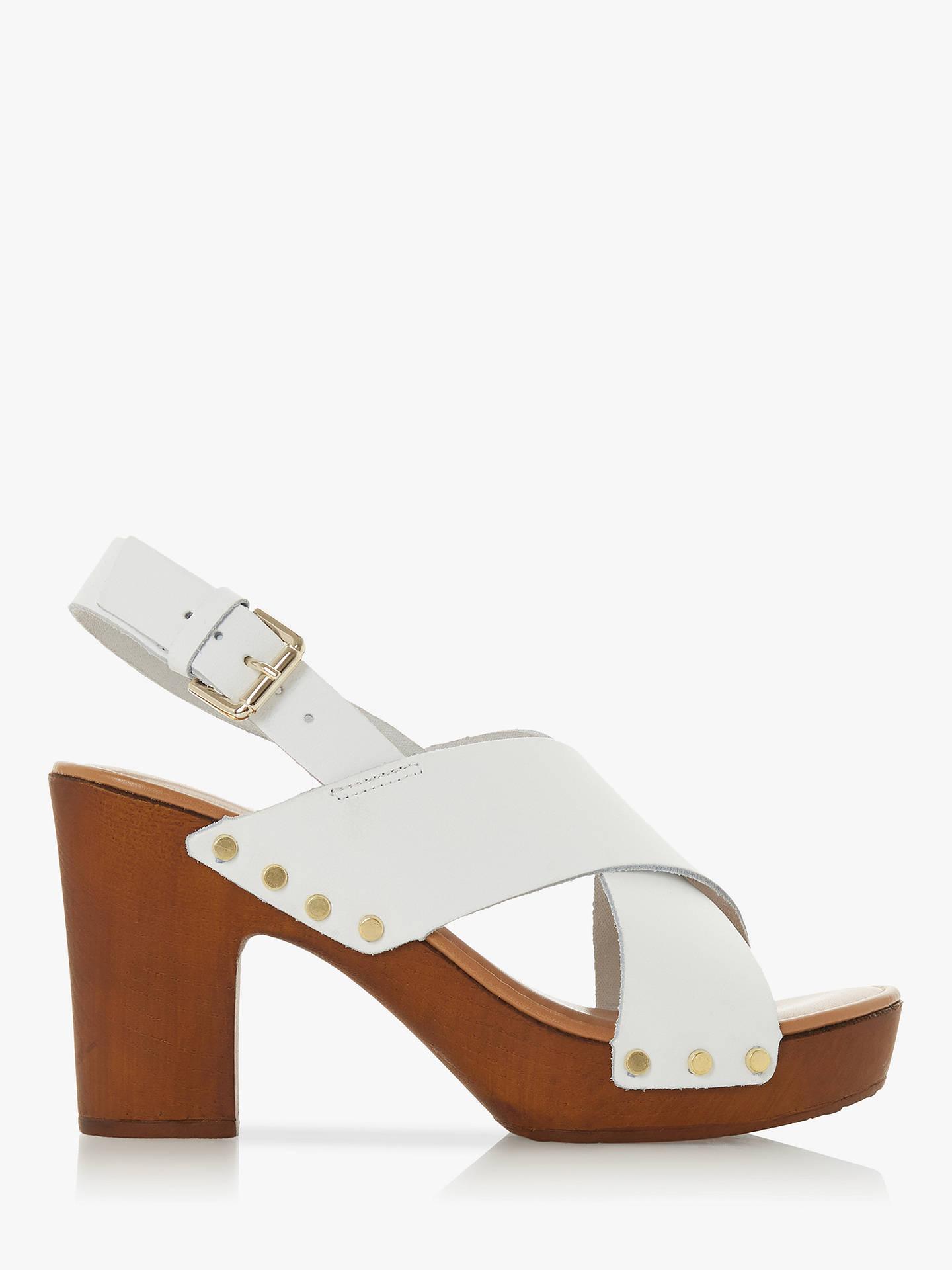 Dune Immi Leather Wooden Platform Sandals White