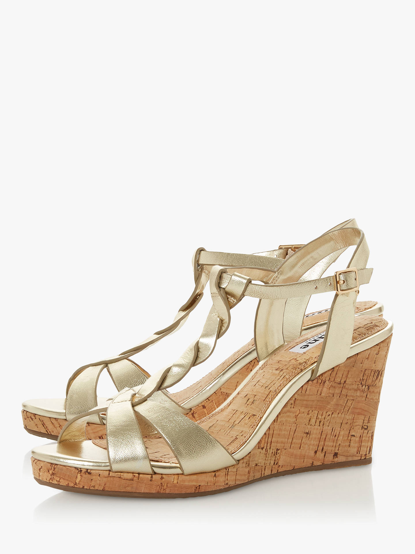 Buy Dune Koala Wedge Heel Sandals, Gold Leather, 3 Online at johnlewis.com