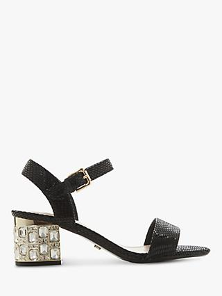 Dune Mesmerized Leather Embellished Heeled Sandals, Black
