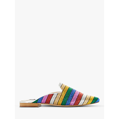 Dune Goldcoast Rainbow Slip On Flat Mules, Multi